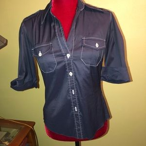 Trina Turk 3/4 Sleeve Button Up Blouse